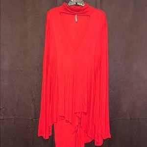 Free People Long Sleeve Asymmetrical Cutout Dress